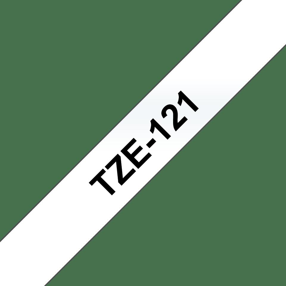 Oryginalna taśma TZe-121 firmy Brother. Czarny nadruk na przezroczystym tle , 9mm szerokości 3