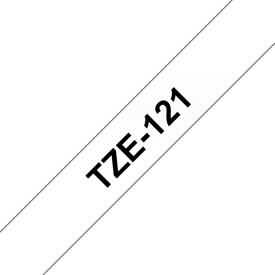 Oryginalna taśma TZe-121 firmy Brother. Czarny nadruk na przezroczystym tle , 9mm szerokości