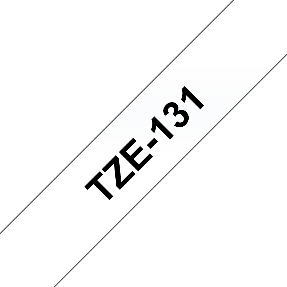 Oryginalna taśma TZe-131 – czarny nadruk na przezroczystym tle, 12mm szerokości