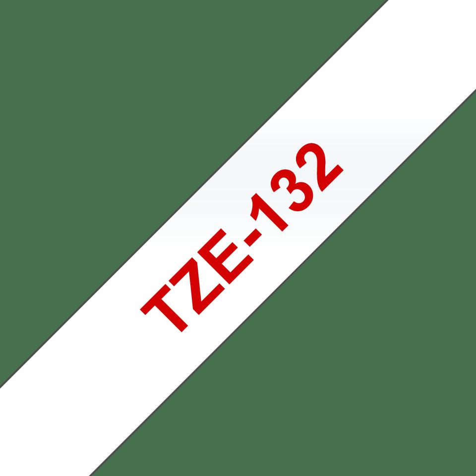 Oryginalna  taśma TZe-132 firmy Brother. Czerwony nadruk na przezroczystym tle – 12mm szerokości
