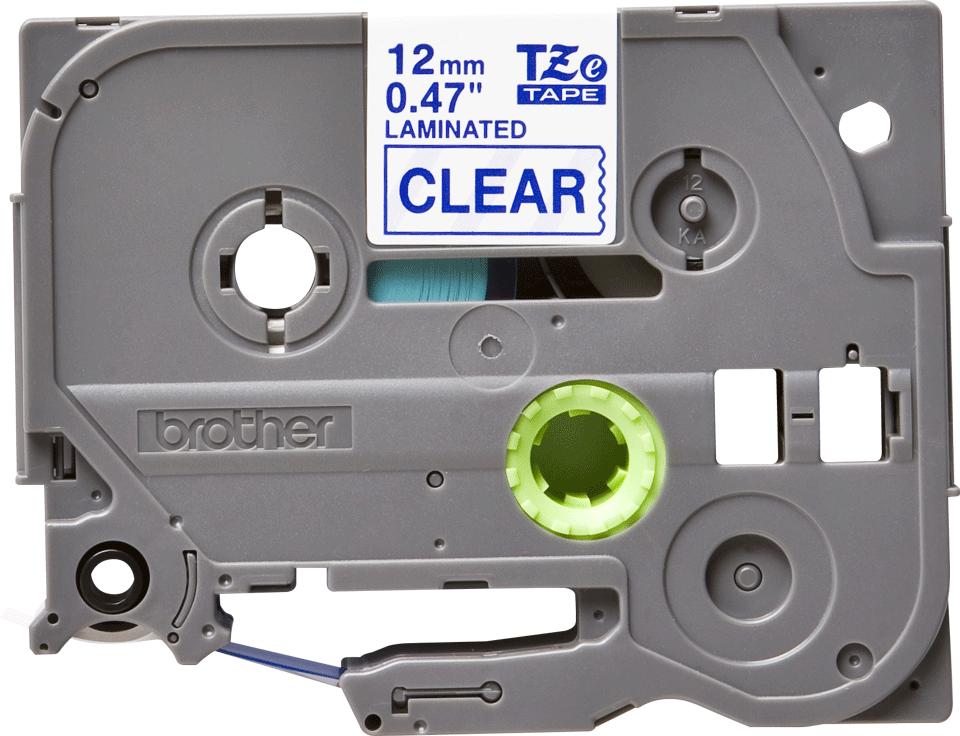 Oryginalna taśma TZe-133 firmy Brother – niebieksi nadruk na przezroczystym tle, 12mm szerokości