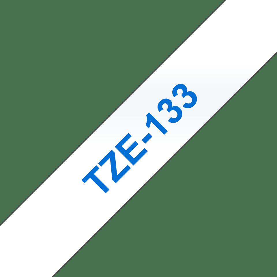 Oryginalna taśma TZe-133 firmy Brother – niebieksi nadruk na przezroczystym tle, 12mm szerokości 3