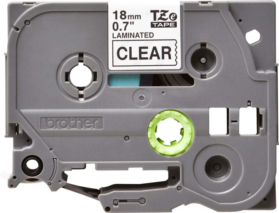 Oryginalna taśma TZe-141 firmy Brother – czarny nadruk na przezroczystym tle, 18mm szerokości 2