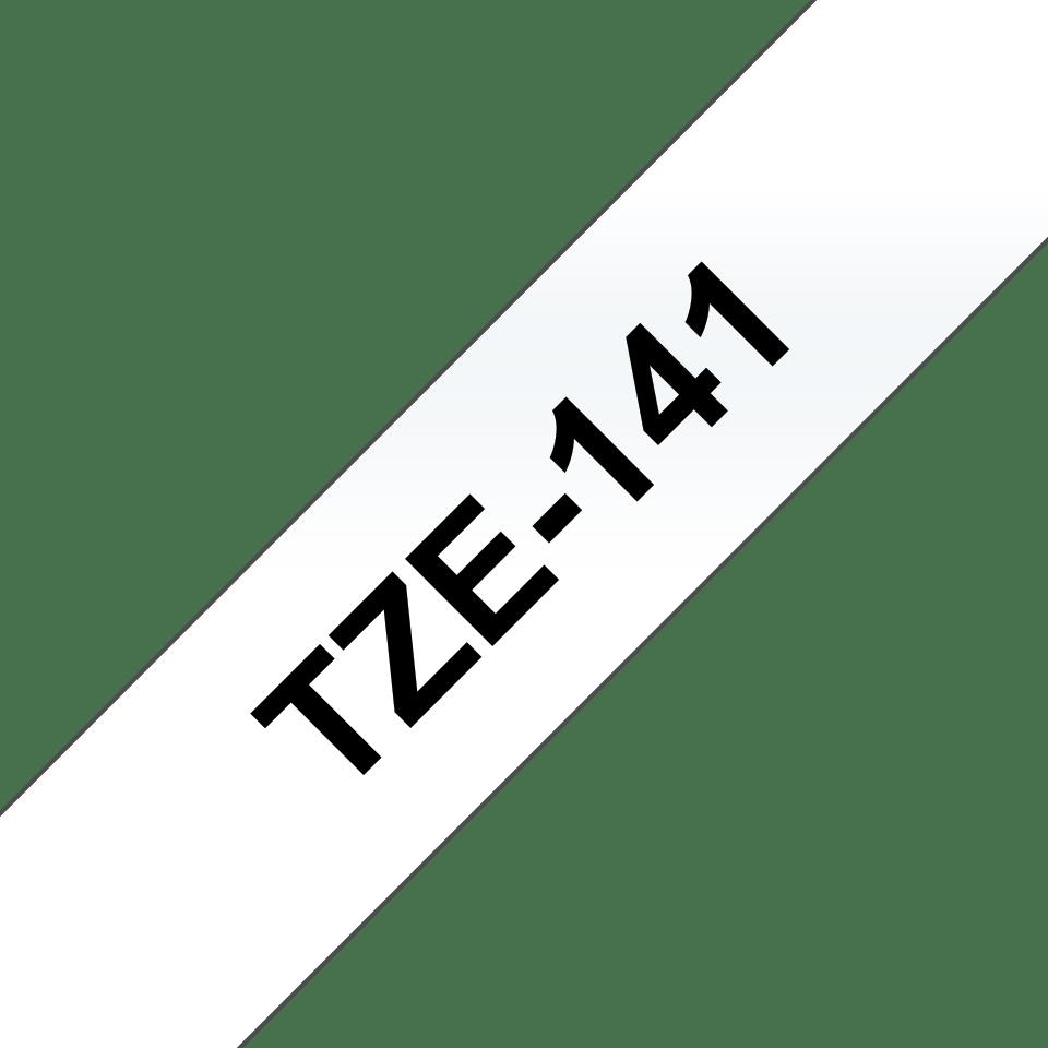 Oryginalna taśma TZe-141 firmy Brother – czarny nadruk na przezroczystym tle, 18mm szerokości