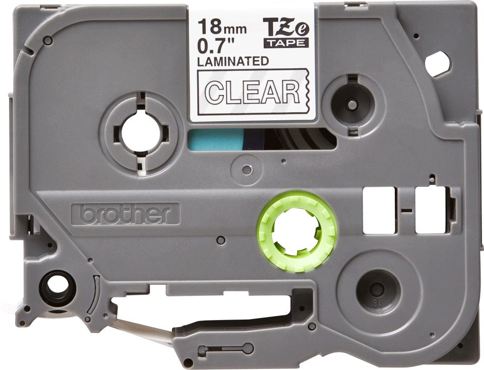 Oryginalna taśma TZe-145 firmy Brother – biała na przezroczystym tle, 18mm szerokości 2