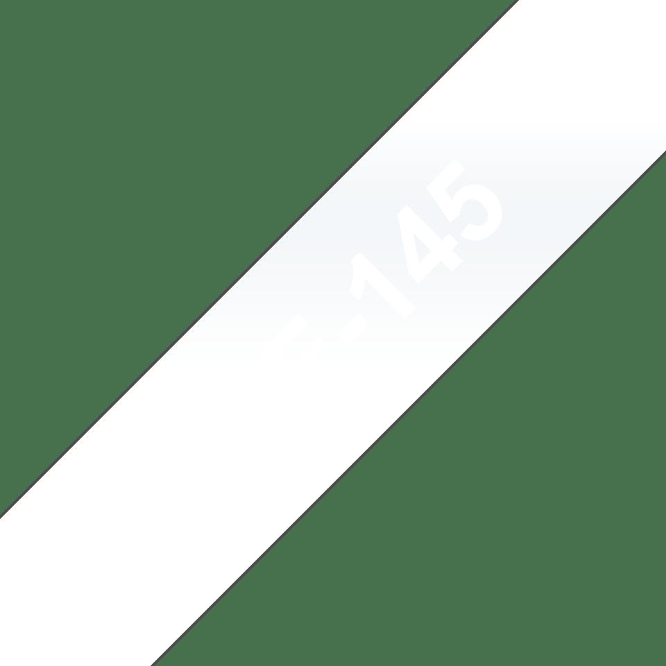 Oryginalna taśma TZe-145 firmy Brother – biała na przezroczystym tle, 18mm szerokości 3