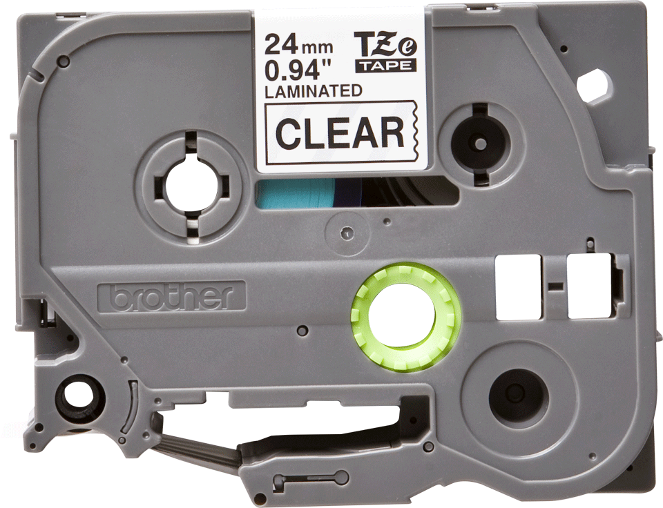 Oryginalna taśma TZE-151 firmy Brother – czarny nadruk na przezroczystym tle, 24mm szerokości 2