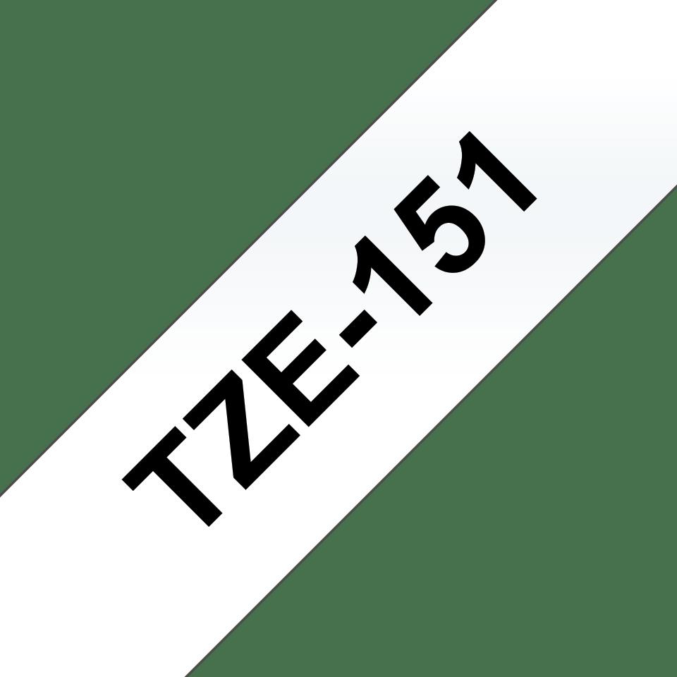 Oryginalna taśma TZE-S151 firmy Brother – czarny nadruk na przezroczystym tle, 24mm szerokości 3