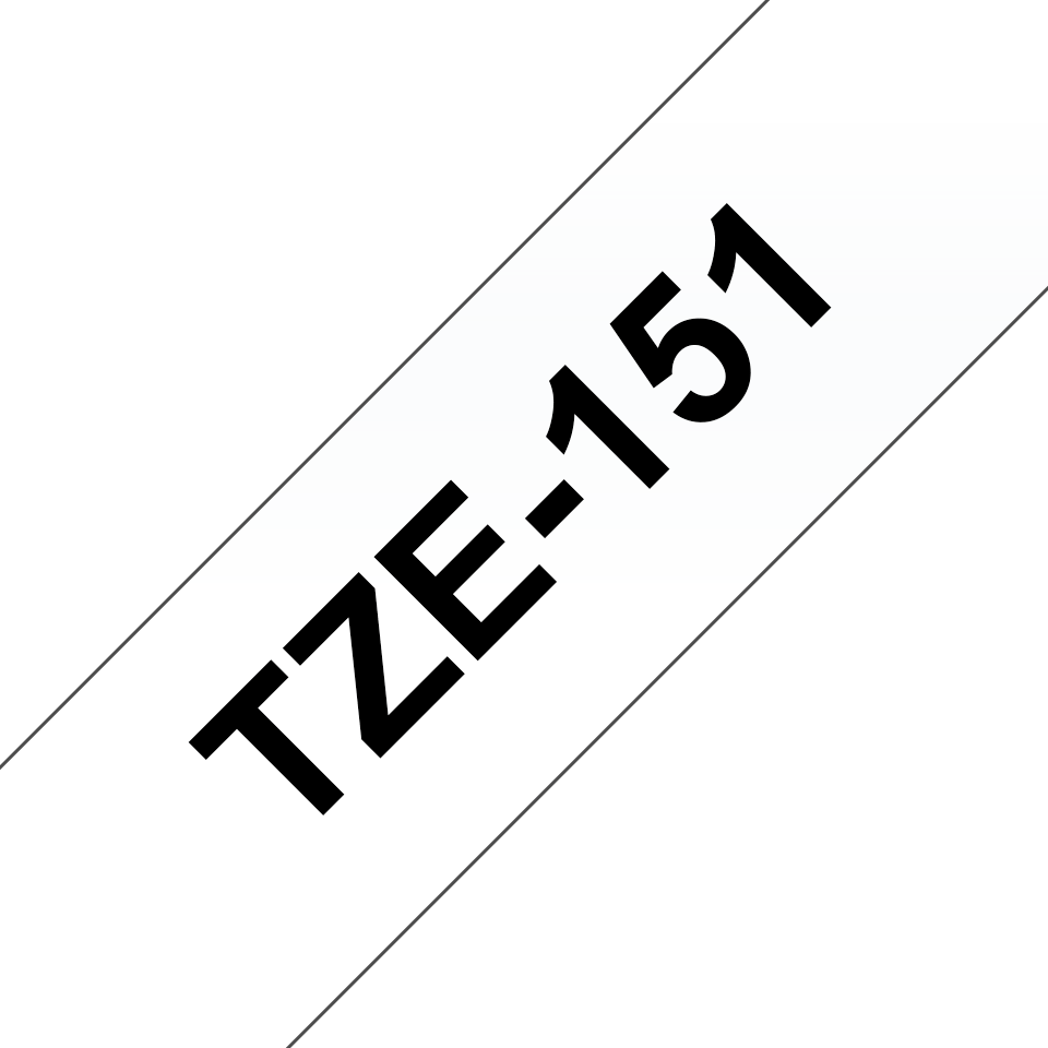 Oryginalna taśma TZE-151 firmy Brother – czarny nadruk na przezroczystym tle, 24mm szerokości 3