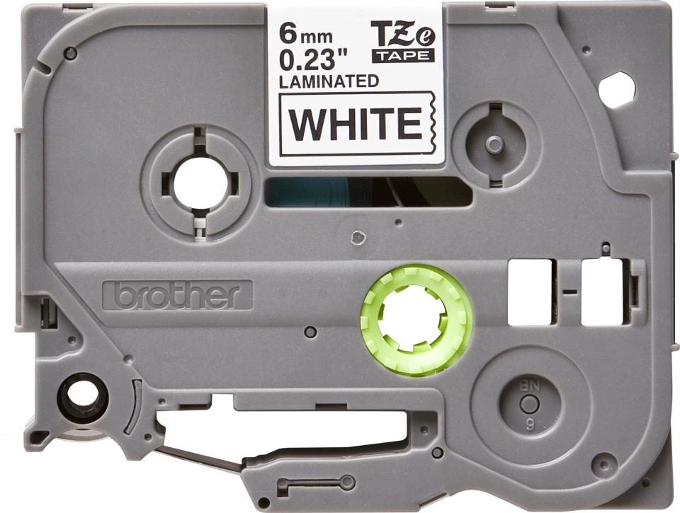 Oryginalna taśma Brother TZe-211 – czarny nadruk na białym tle, 6mm szerokości 2