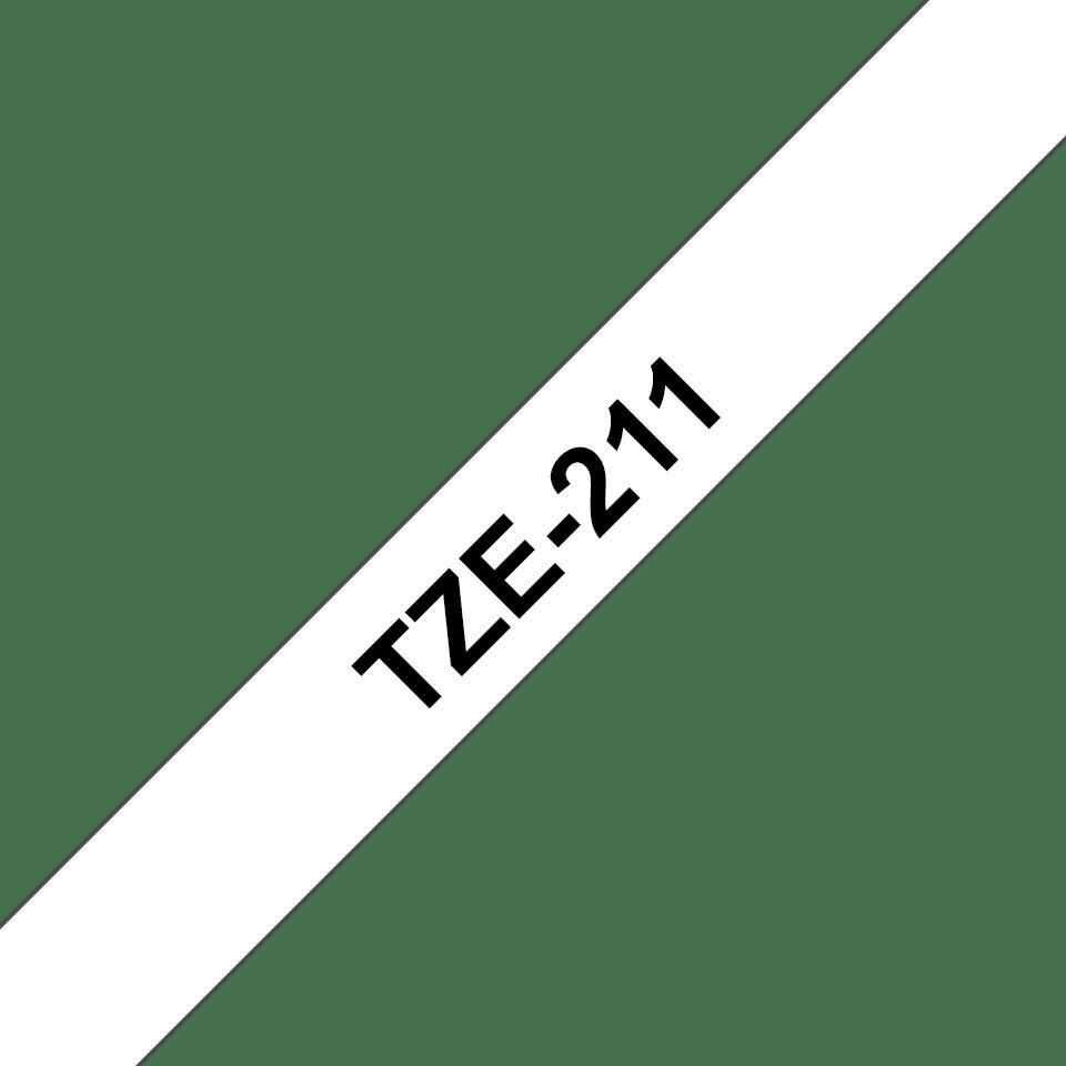 Oryginalna taśma Brother TZe-211 – czarny nadruk na białym tle, 6mm szerokości 3