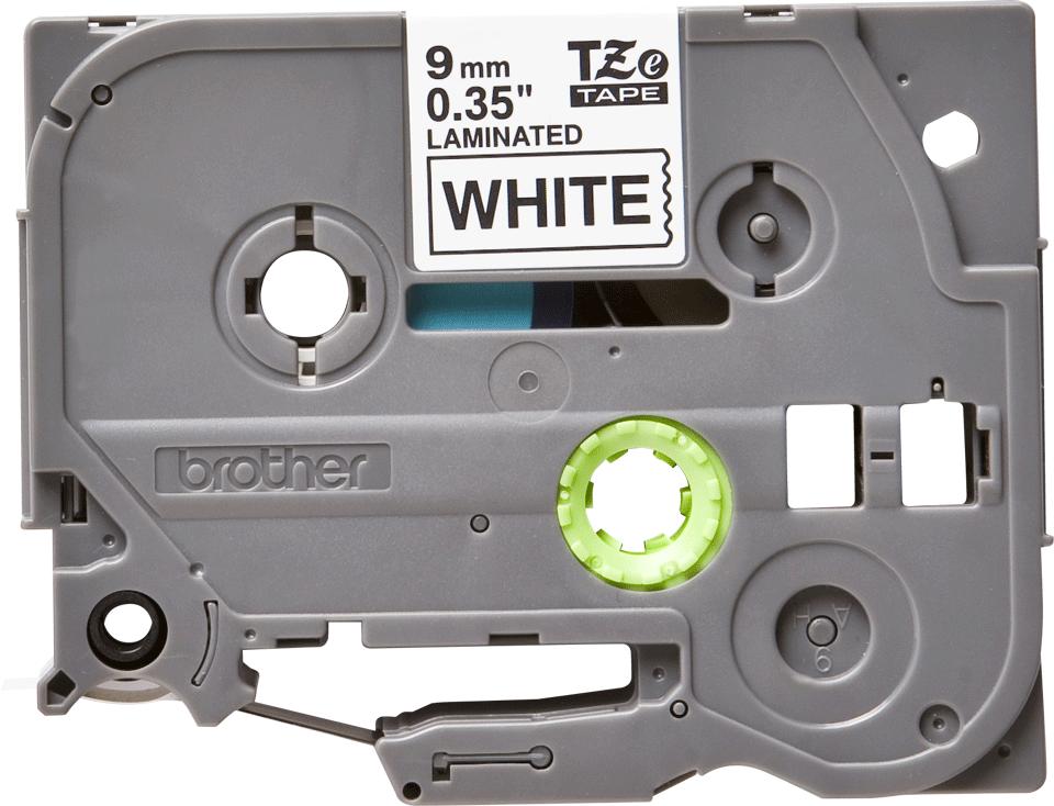 Oryginalna taśma TZe-221 firmy Brother - czarny nadruk na białym tle, 9 mm szerkości