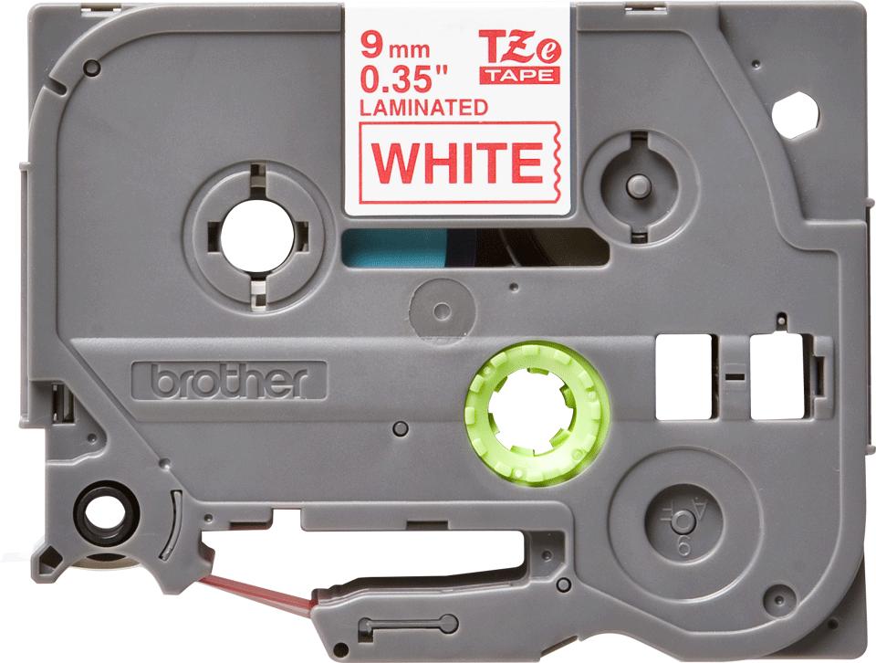 Oryginalna taśma TZe-222 firmy Brother – czerwony nadruk na białym tle, 9mm szerokości