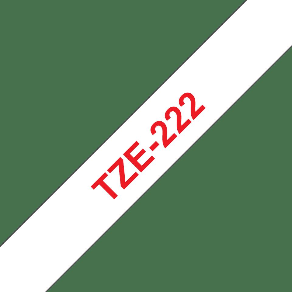 Oryginalna taśma TZe-222 firmy Brother – czerwony nadruk na białym tle, 9mm szerokości 3