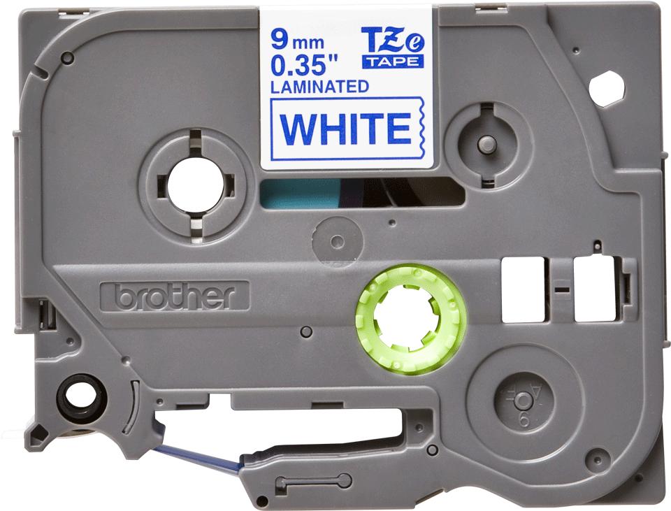 Oryginalna taśma TZe-223 firmy Brother – niebieski nadruk na białym tle, 9mm szerokości