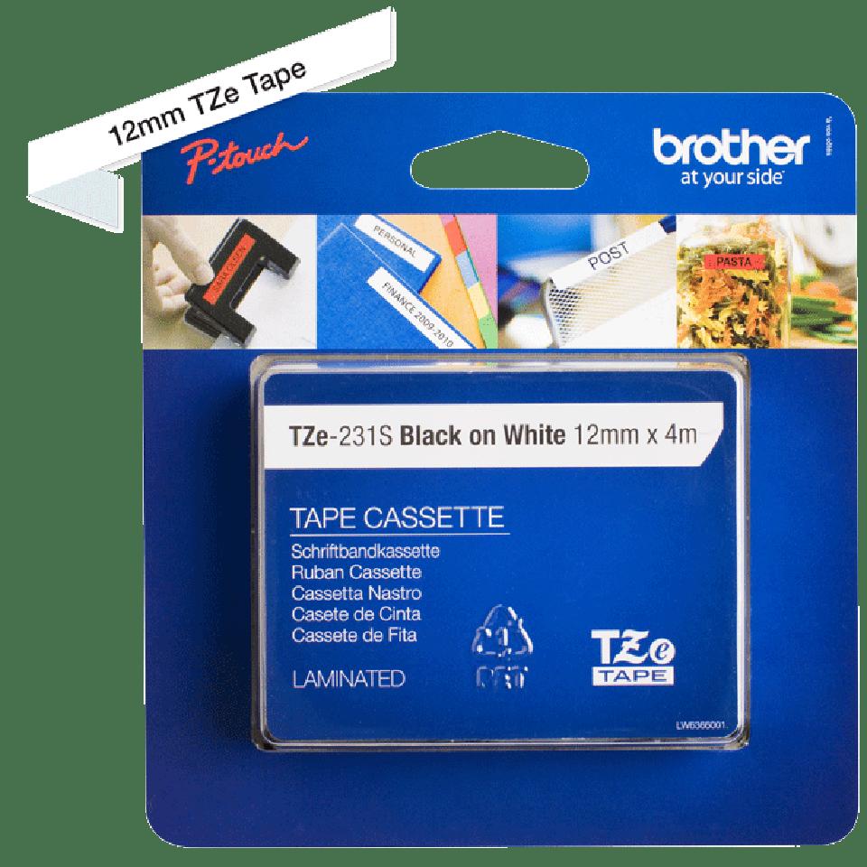 Oryginalna taśma do etykietowania Brother TZe-231S – czarny nadruk na białym tle, szerokość 12mm 4