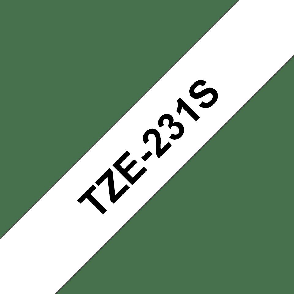 Oryginalna taśma do etykietowania Brother TZe-231S – czarny nadruk na białym tle, szerokość 12mm
