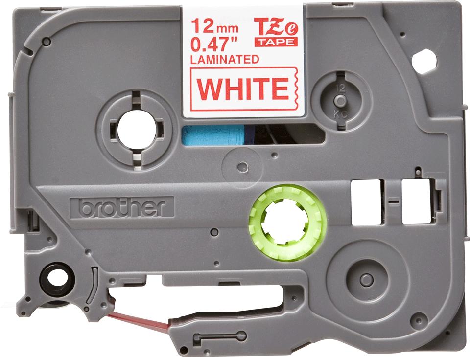 Oryginalna taśma TZe-232 firmy Brother – czerwony nadruk na białym tle, 12mm