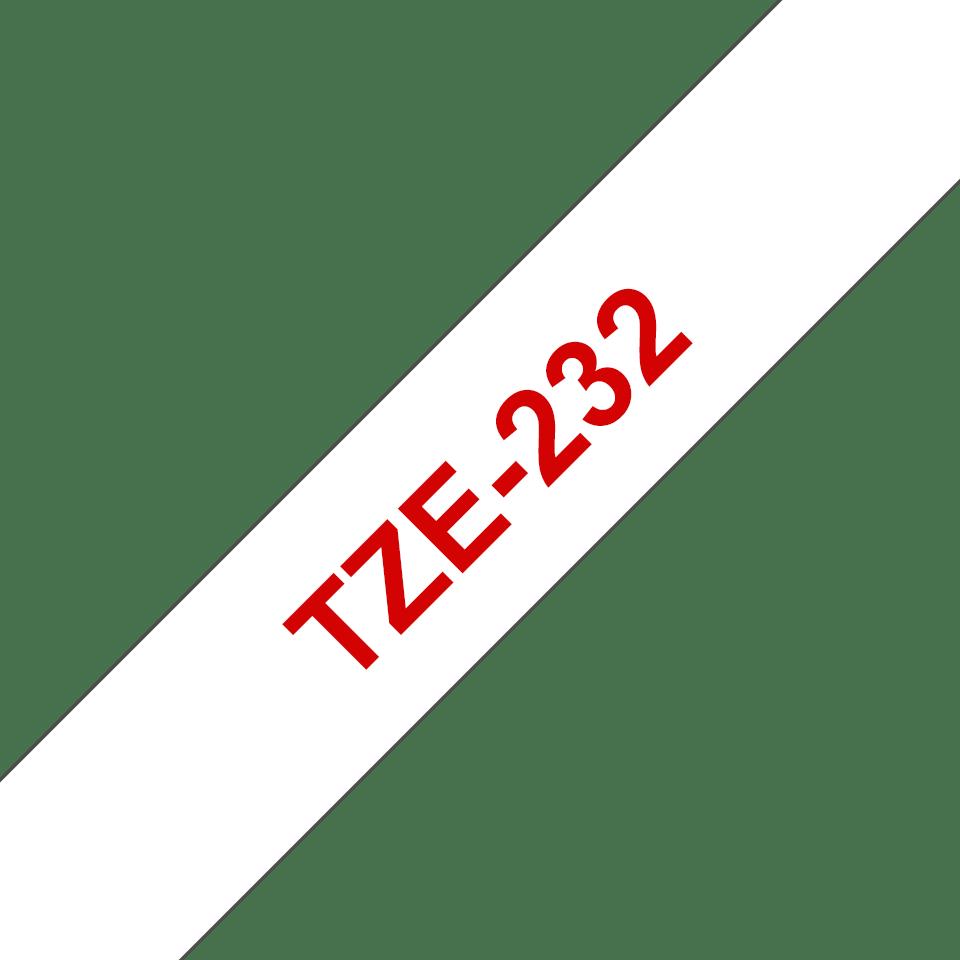 Oryginalna taśma TZe-232 firmy Brother – czerwony nadruk na białym tle, 12mm 3