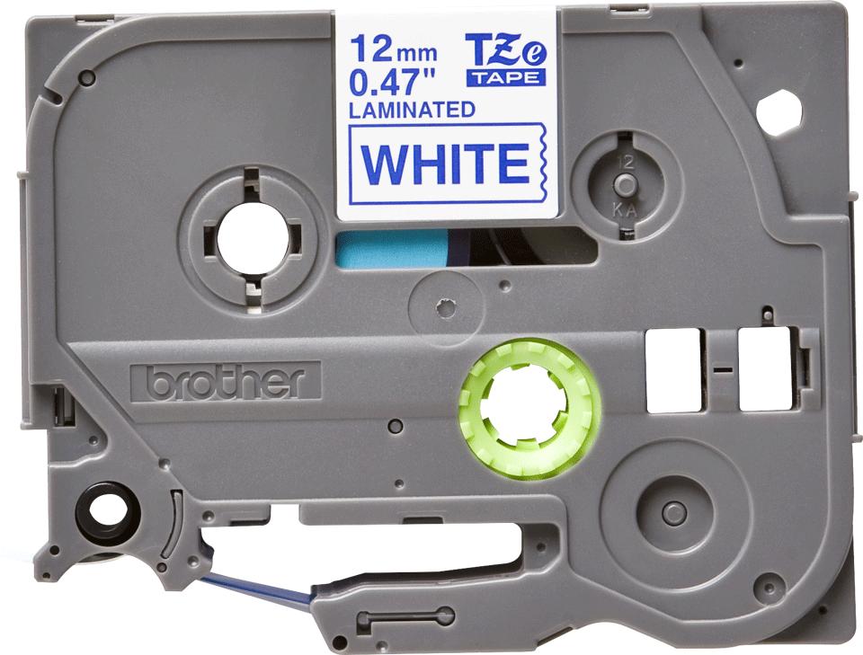 Oryginalna taśma TZe-233 firmy Brother – niebieski nadruk na białym tle, 12mm szerokości