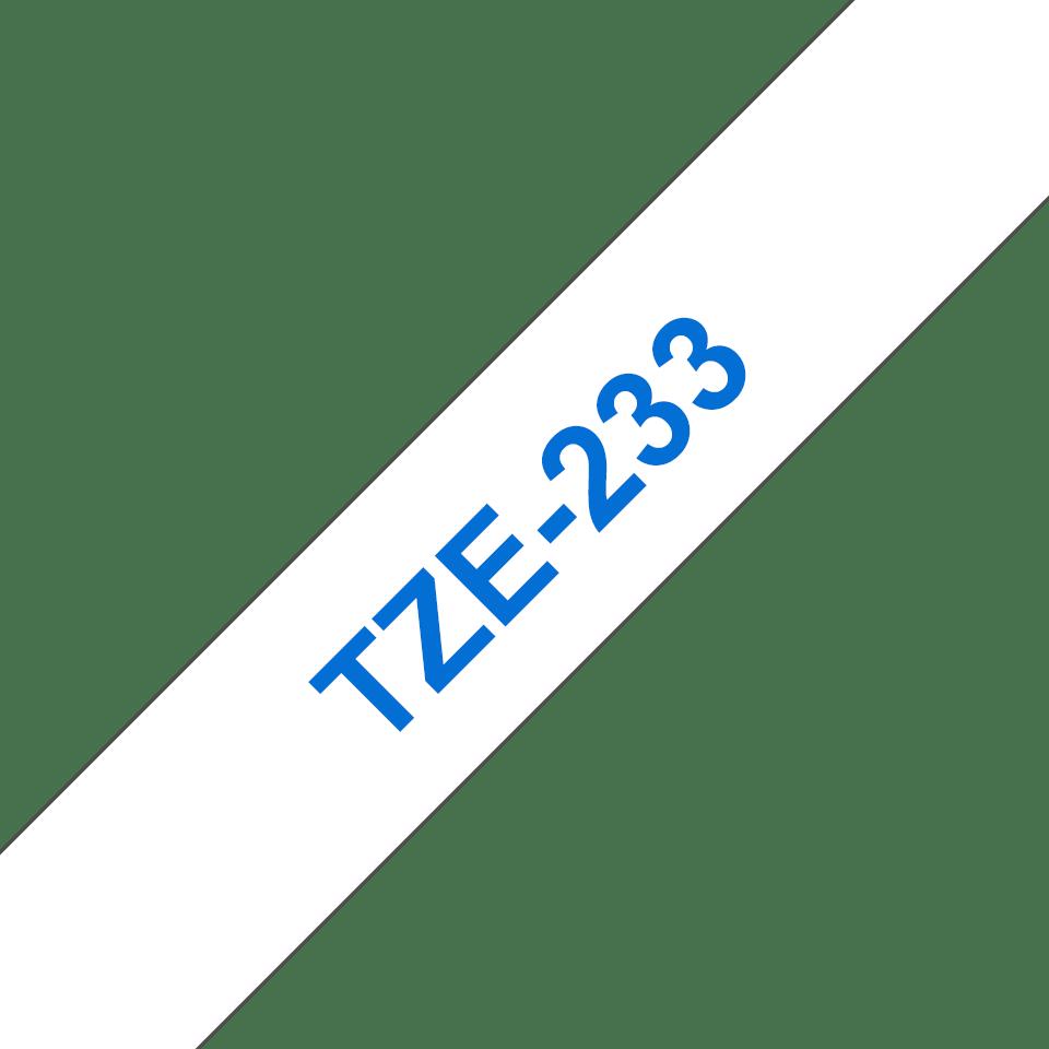 Oryginalna taśma TZe-233 firmy Brother – niebieski nadruk na białym tle, 12mm szerokości 3