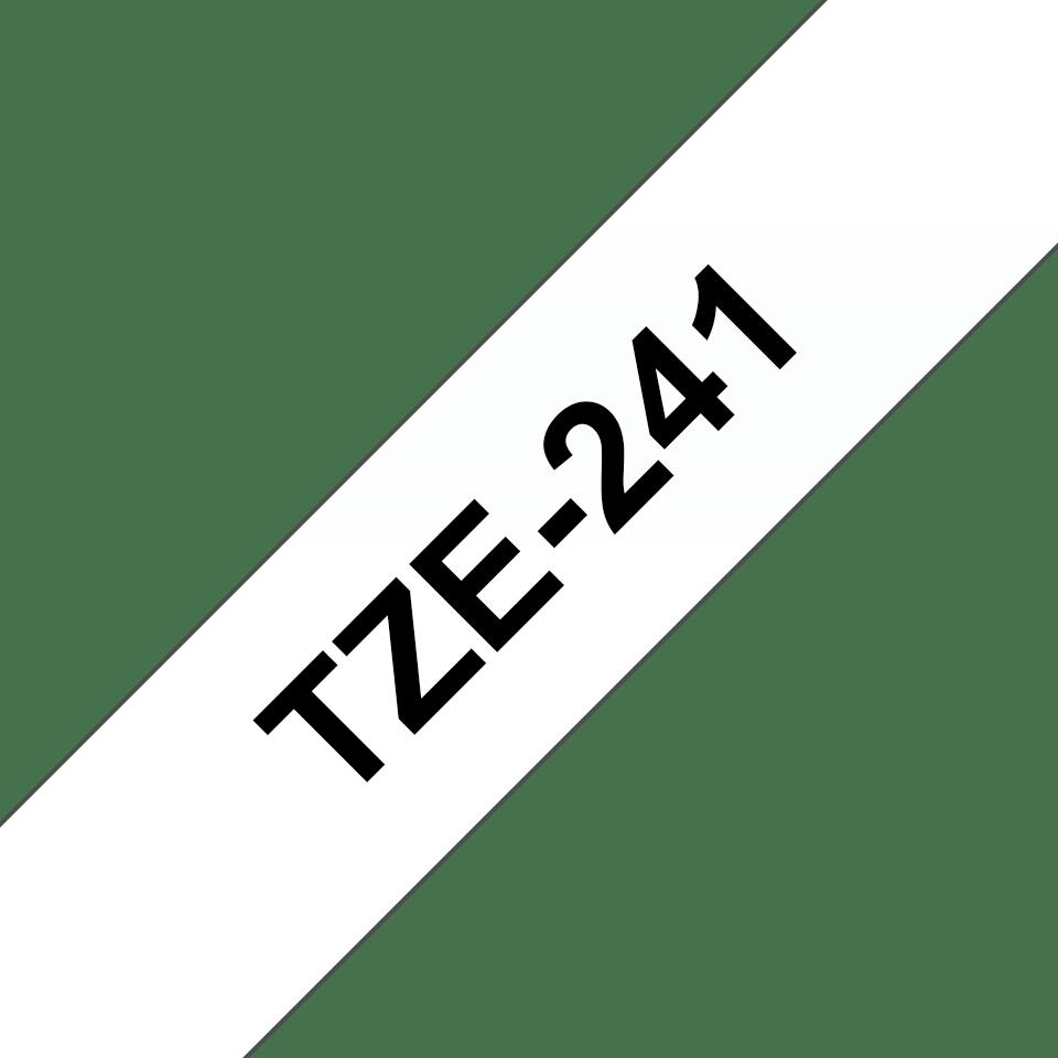 Oryginalna taśma TZe-241 firmy Brother – czarny nadruk na białym tle, 18mm szerokości 3