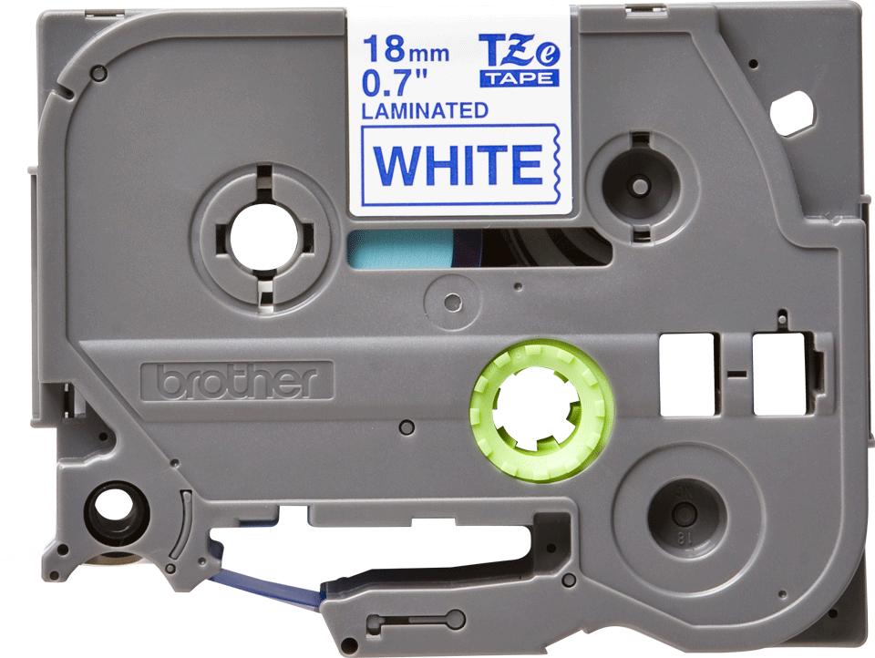 Oryginalna taśma TZe-243 firmy Brother – niebieski nadruk na białym tle, 18mm szerokości