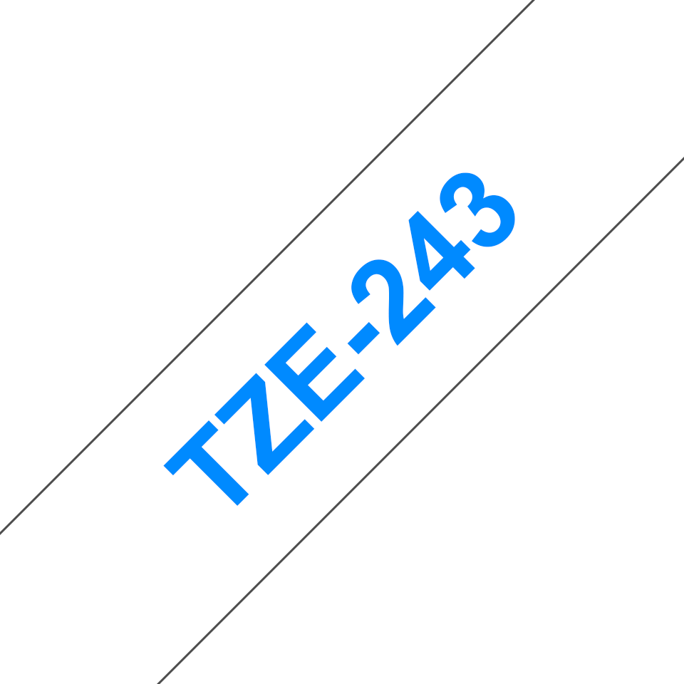 Oryginalna taśma TZe-243 firmy Brother – niebieski nadruk na białym tle, 18mm szerokości 3