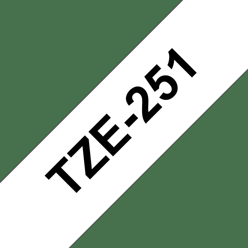 Oryginalna taśma TZe-251 firmy Brother – czarny nadruk na białym tle, 24mm szerokości 3