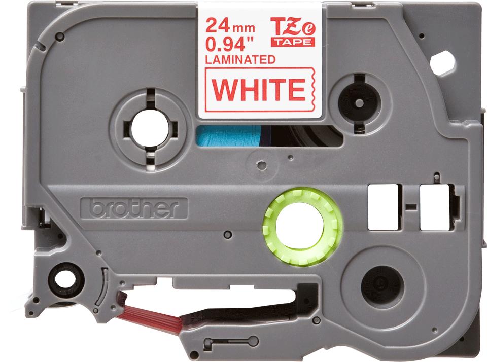 Oryginalna taśma TZe-252 firmy Brother – czerwony nadruk na białym tle, 24mm szerokości