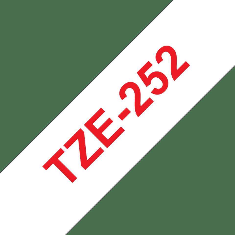 Oryginalna taśma TZe-252 firmy Brother – czerwony nadruk na białym tle, 24mm szerokości 3