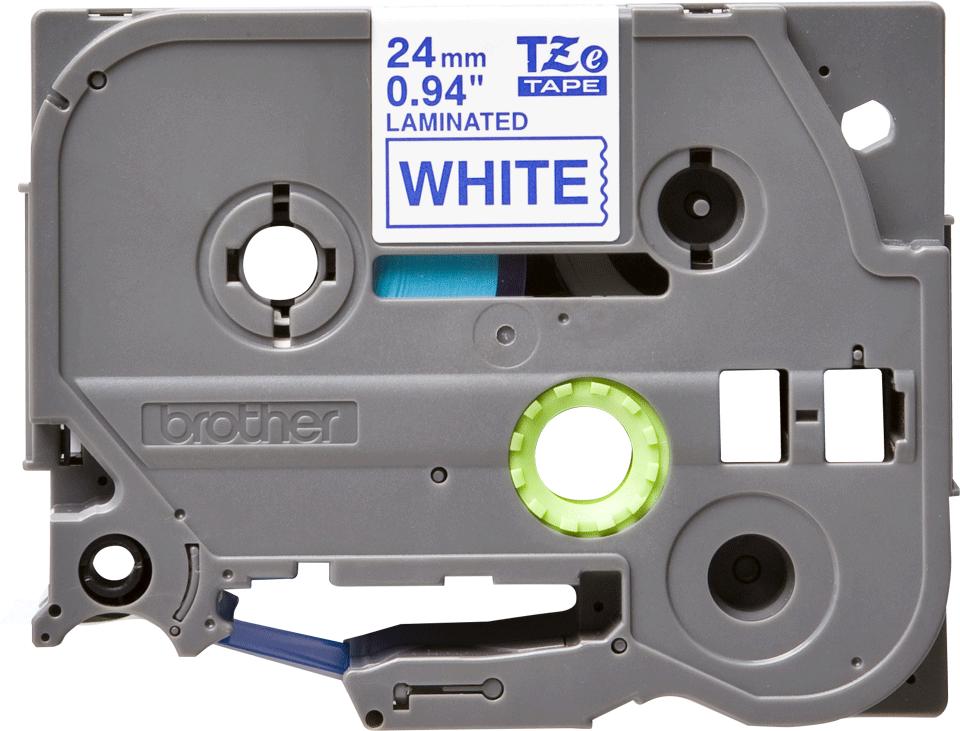 Oryginalna taśma TZe-253 firmy Brother – niebieski nadruk na białym tle, 24mm szerokości