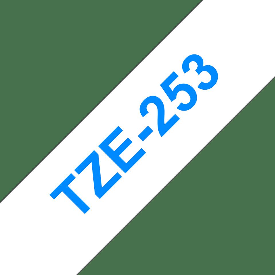 Oryginalna taśma TZe-253 firmy Brother – niebieski nadruk na białym tle, 24mm szerokości 3