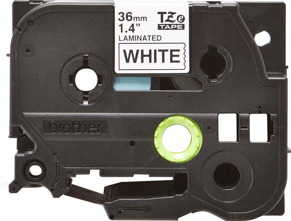 Oryginalna taśma TZe-261 firmy Brother – czarny nadruk  na białym tle, 36mm szerokości