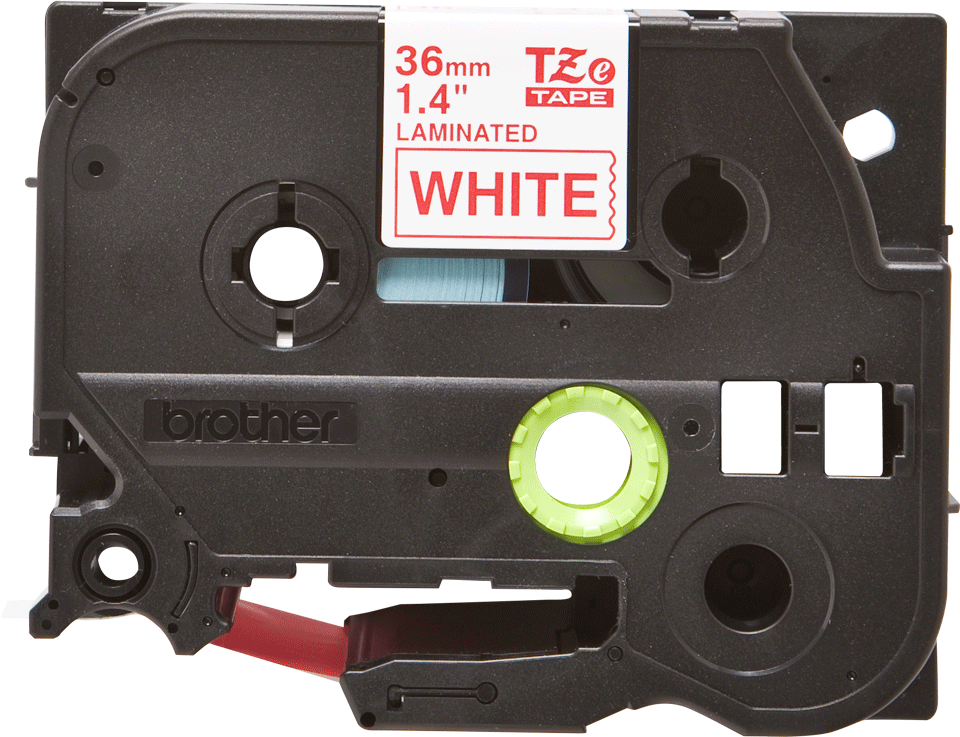 Oryginalna taśma TZe-262 firmy Brother – czerwony nadruk na białym tle, 36mm szerokości