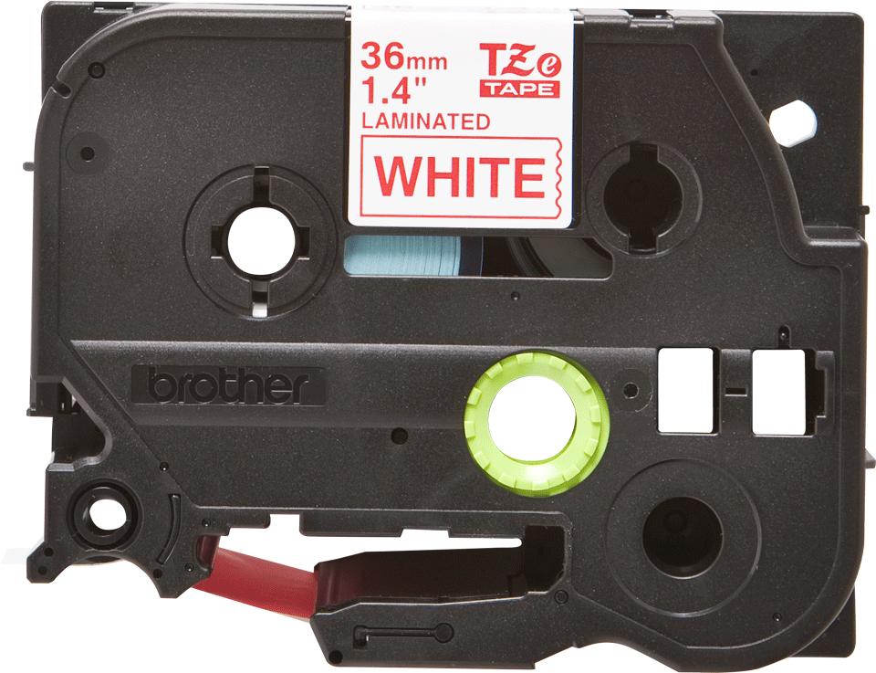 Oryginalna taśma TZe-262 firmy Brother – czerwony nadruk na białym tle, 36mm szerokości 2
