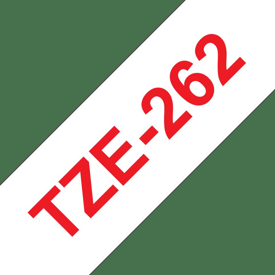 Oryginalna taśma TZe-262 firmy Brother – czerwony nadruk na białym tle, 36mm szerokości 3