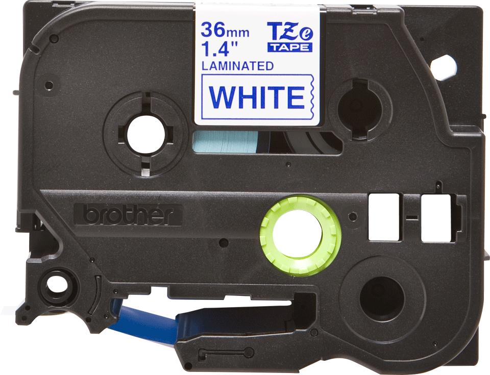 Oryginalna taśma TZe-263 firmy Brother – niebieski nadruk na białym tle, 36mm szerokości