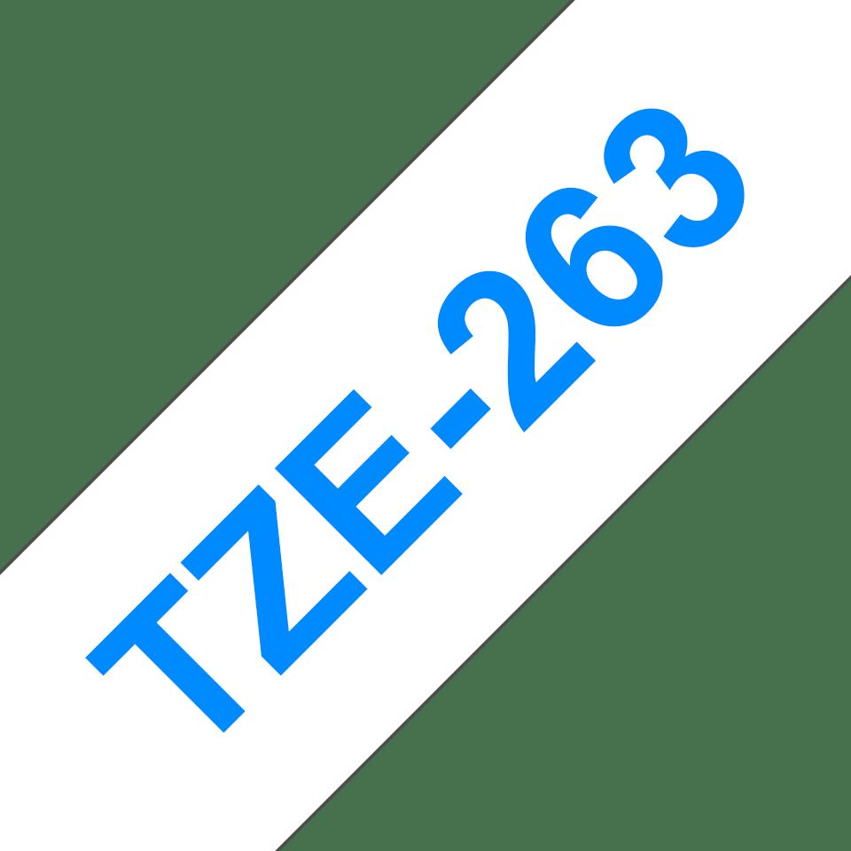 Oryginalna taśma TZe-263 firmy Brother – niebieski nadruk na białym tle, 36mm szerokości 3