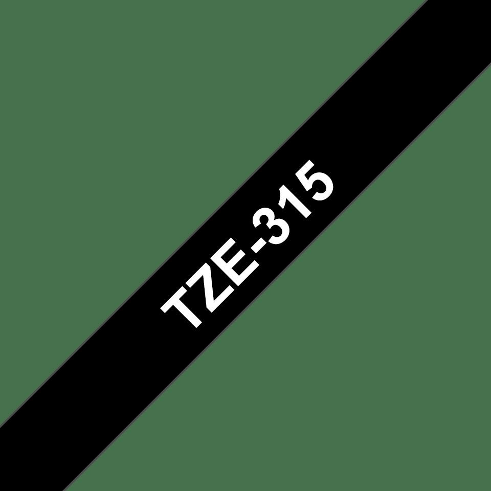 Oryginalna taśma TZe-315 firmy Brother – biały nadruk na czarnym tle, 6mm szerokości 3