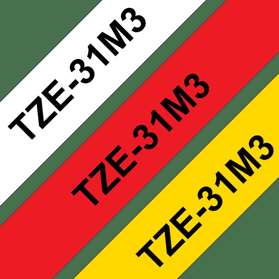 Oryginalne taśmy TZe-31M3 firmy Brother – czarny nadruk na czerwonym, białym i żółtym tle,  12mm szerokości 3