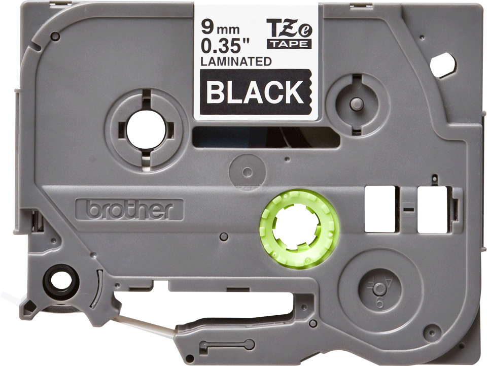 Oryginalna taśma TZe-325 firmy Brother – biały nadruk na czarnym tle, 9mm szerokości