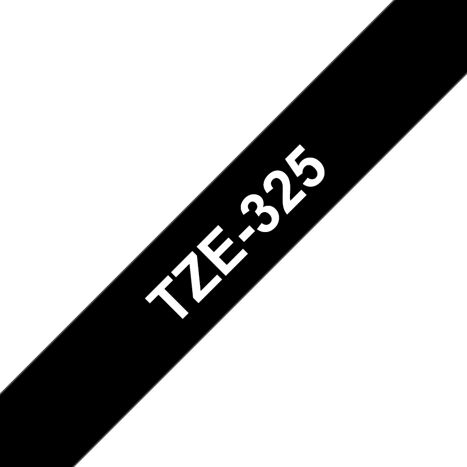 Oryginalna taśma TZe-325 firmy Brother – biały nadruk na czarnym tle, 9mm szerokości 3