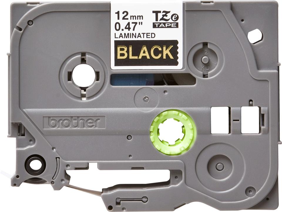 Oryginalna taśma do etykietowania Brother TZe-334 – złoty nadruk na czarnym tle, szerokość 12mm