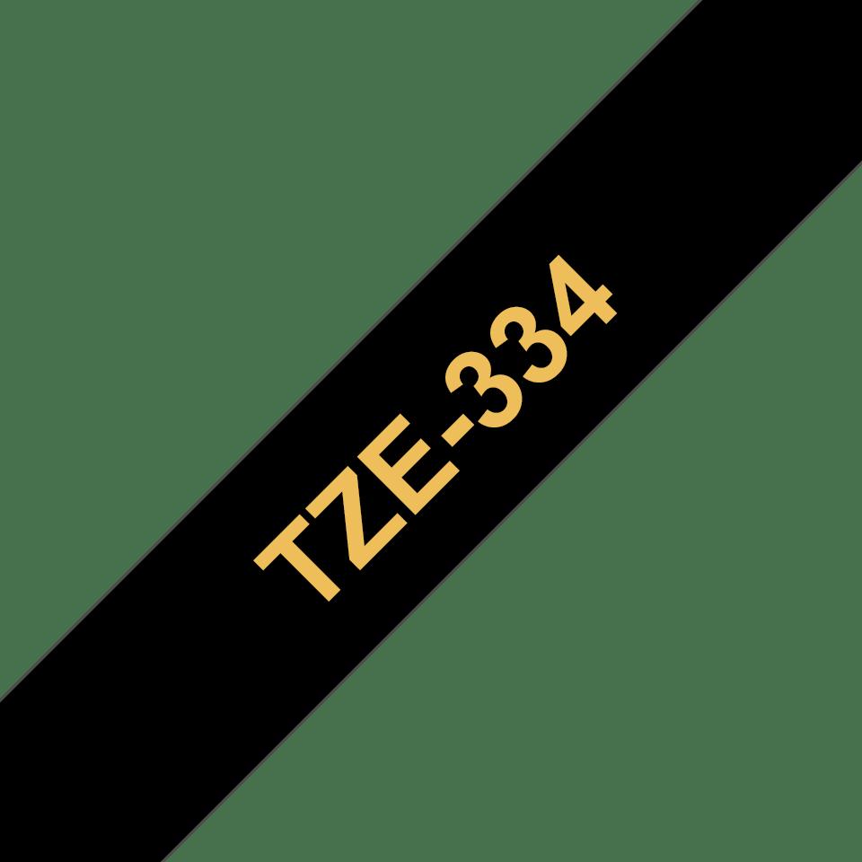 Oryginalna taśma do etykietowania Brother TZe-334 – złoty nadruk na czarnym tle, szerokość 12mm 3