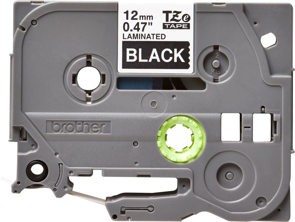 Oryginalna taśma do etykietowania Brother TZe-335 – biały nadruk na czarnym tle, szerokość 12mm 2