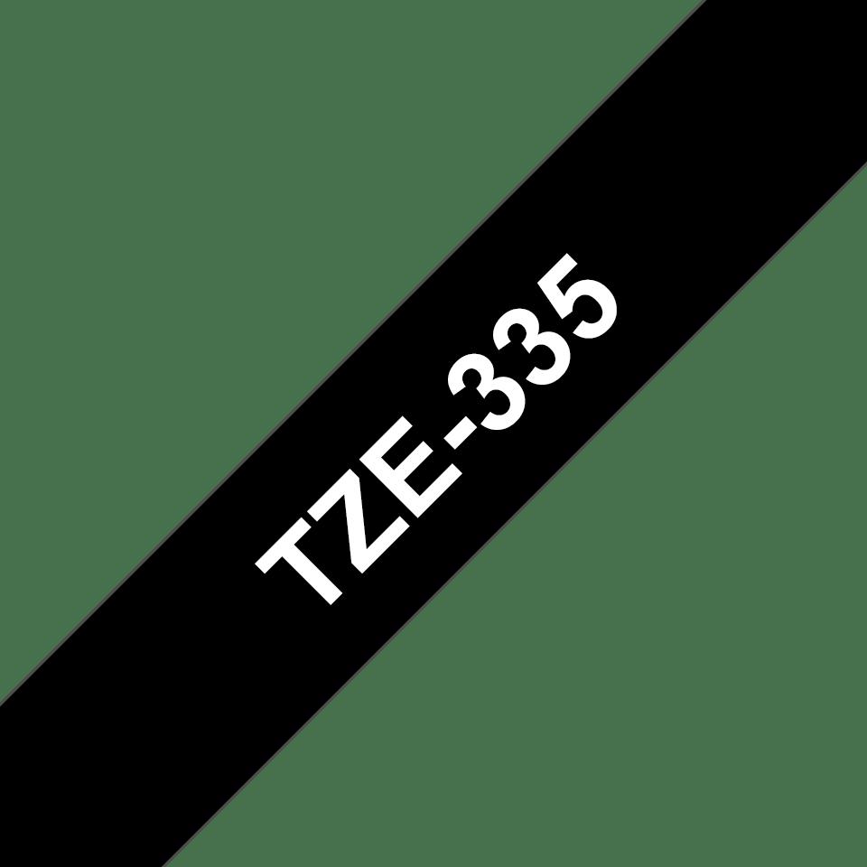 Oryginalna taśma do etykietowania Brother TZe-335 – biały nadruk na czarnym tle, szerokość 12mm