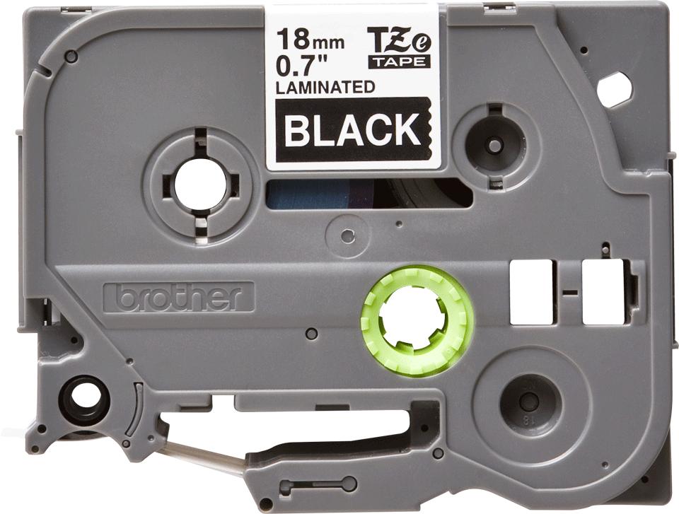 Oryginalna taśma TZe-345 firmy Brother – biały nadruk na czarnym tle, 18mm szerokości