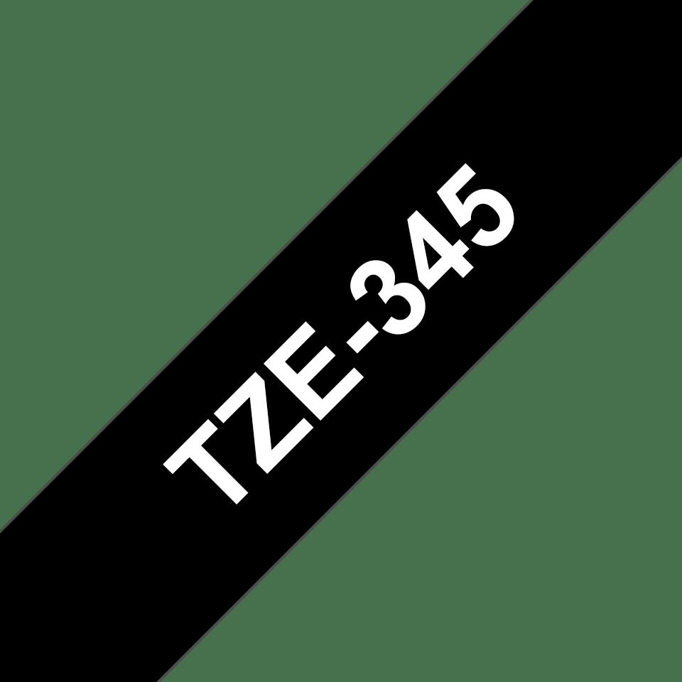 Oryginalna taśma TZe-345 firmy Brother – biały nadruk na czarnym tle, 18mm szerokości  3