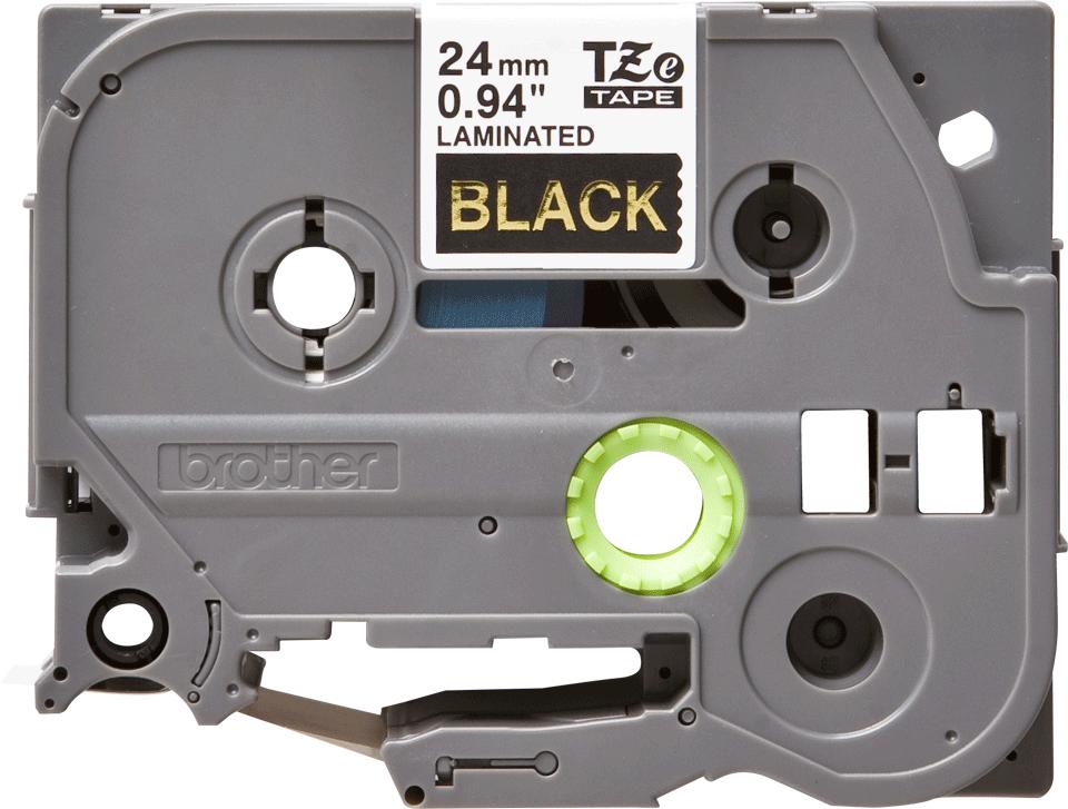 Oryginalna taśma TZe-354 firmy Brother – złoty nadruk na czarnym tle, 24mm szerokości 2